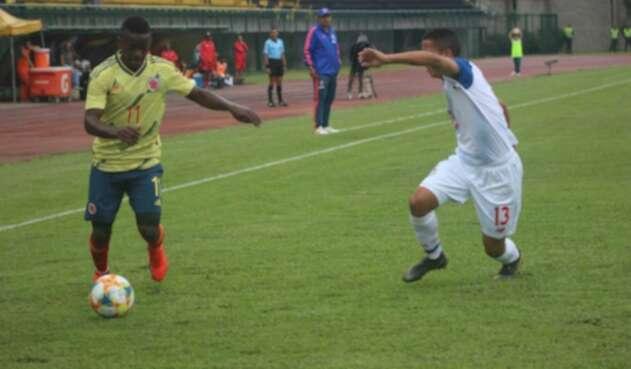 Selección Colombia Sub-20, en su juego contra Panamá.