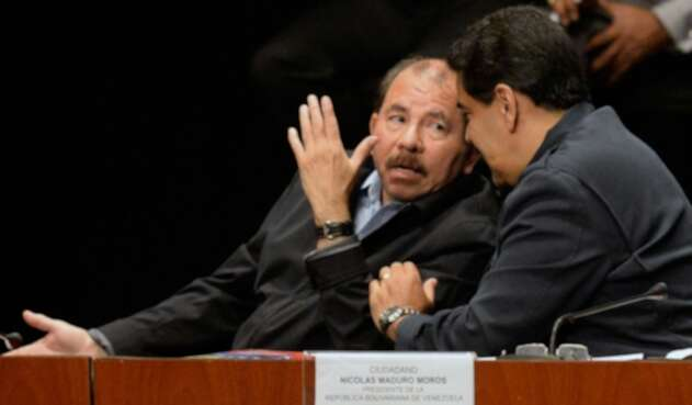 Daniel Ortega y Nicolás Maduro, el 5 de marzo de 2016 en Caracas