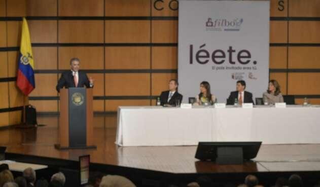 Presidente Iván Duque en su intervención durante la inauguración de la Feria del Libro de Bogotá.