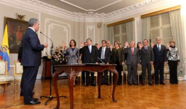 El presidente Iván Duque con su gabinete en la Casa de Nariño