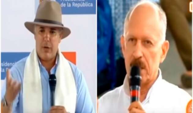 El presidente Iván Duque y el senador Temístocles Ortega en Timbío (Cauca)