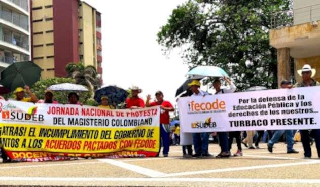 Docentes de Fecode en paro, el 10 de mayo de 2018 en Barranquilla