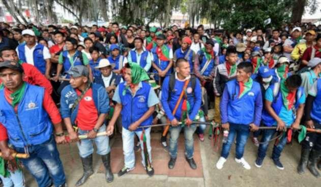 Indígenas reunidos en Caldono (Cauca)
