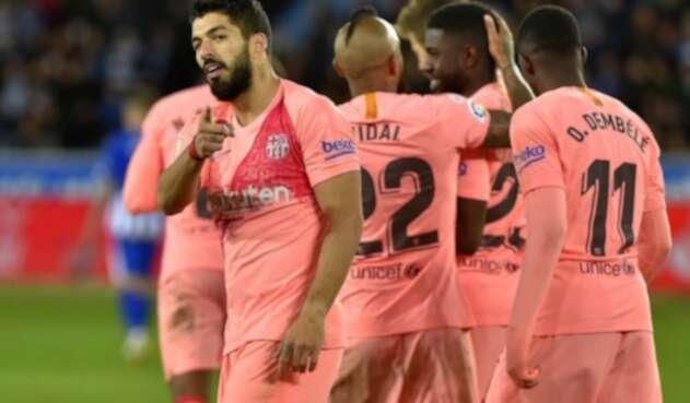 Luis Suárez, celebrando con el Barcelona.