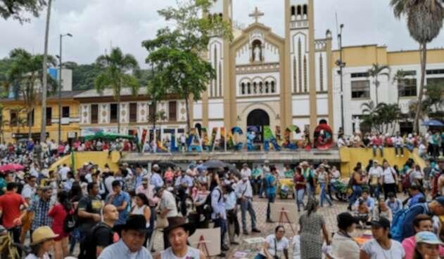 Marcha del paro nacional en la ciudad de Villavicencio