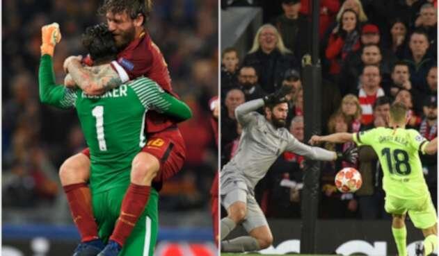 Alisson Becker celebrando con Daniele De Rossi la remontada de AS Roma ante Barcelona el 10 de abril de 2018 en Roma y Alisson Becker en el juego de la remontada de Liverpool ante Barcelona, el 7 de mayo de 2019 en Liverpool, ambos por Champions