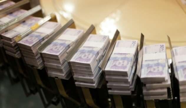 Billetes colombianos fabricados en el Banco de la República, en Bogotá