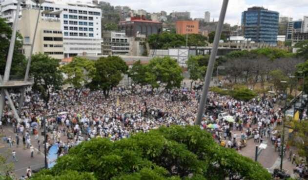 Simpatizantes de Juan Guaidó reunidos en Caracas, el 11 de mayo de 2019