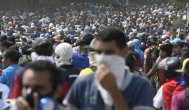 Opositores al régimen de Nicolás Maduro concentrados en Caracas
