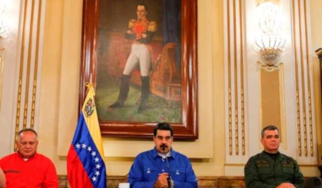 Diosdado Cabello, Nicolás Maduro y Vladimir Padrino en Caracas