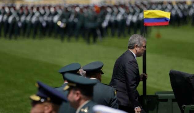 El presidente Iván Duque con la cúpula de las Fuerzas Militares en Bogotá, 17 de dicembre de 2018