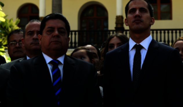 Edgar Zambrano, vicepresidente de la Asamblea Nacional de Venezuela junto a Juan Guaidó