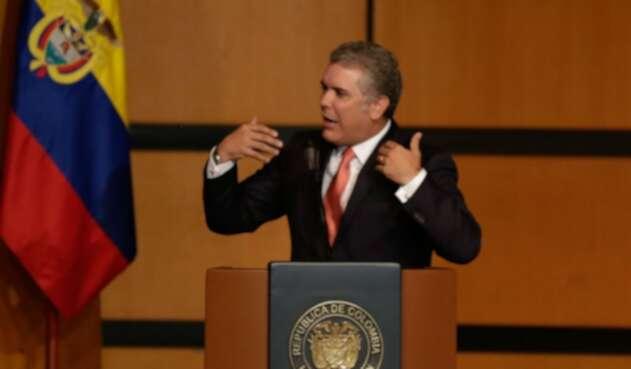 Iván Duque, presidente de la República, ofreciendo un discurso en Bogotá