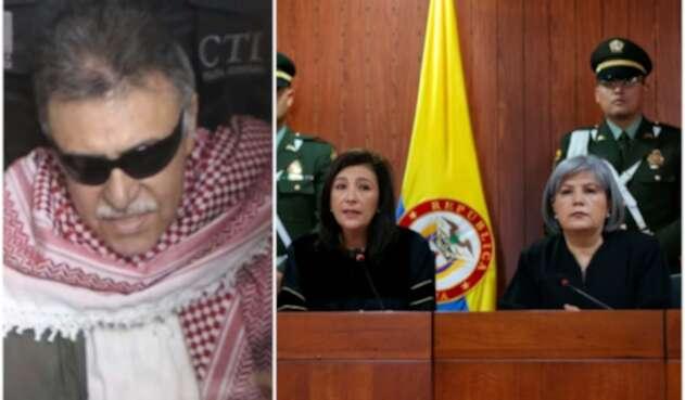 Jesús Santrich, integrante del partido Farc; Gloria Ortíz, presidenta de la Corte Constitucional y Patricia Linares, presidenta de la JEP