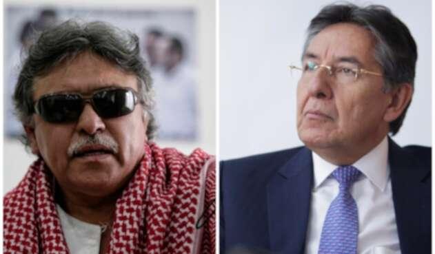 Jesús Santrich, integrante del partido Farc, y Néstor Humberto Martínez, fiscal general de la Nación