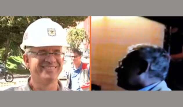 Juan Carlos Montes durante su paso por el IDRD y en el video del caso Gustavo Petro