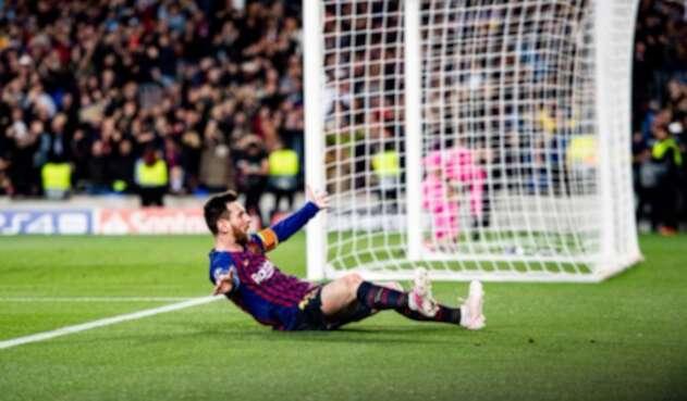 Leo Messi celebrando un gol (Barcelona vs Liverpool)