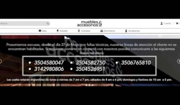 El mensaje que Muebles & Accesorios montó en su sitio oficial