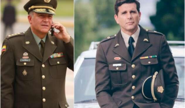 El general retirado Óscar Naranjo y Christian Meier, actor que lo interpreta en la serie 'El general Naranjo'