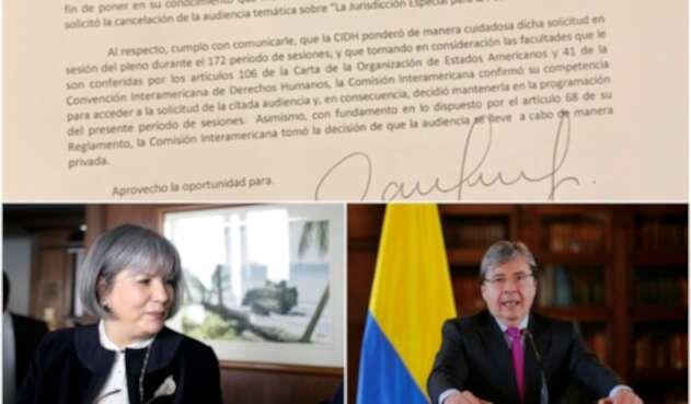 La carta de la CIDH, la presidente de la JEP Patricia Linares y el canciller Carlos Holmes