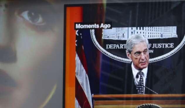 Times Square, en Nueva York, proyectando la intervención en Washington de Robert Mueller, fiscal especial de Estados Unidos