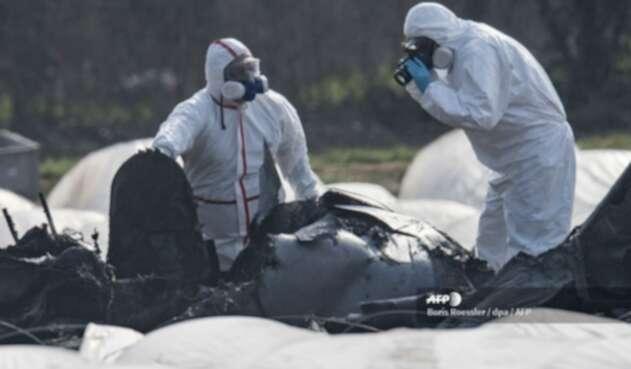 Avión que se incendió en Rusia