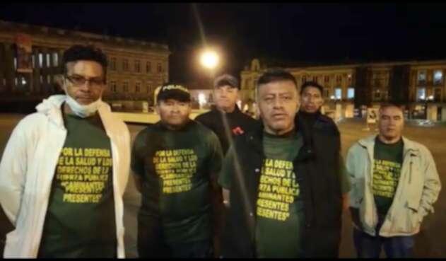 Huelga de hambre policías retirados en la Plaza de Bolívar