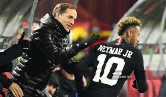 Thomas Tuchel y Neymar JR - PSG