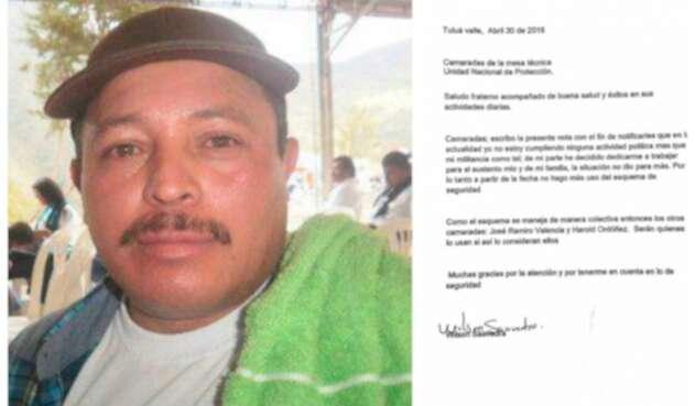 Wilson Saavedra, exintegrante de las Farc asesinado. A la derecha la misiva que envió