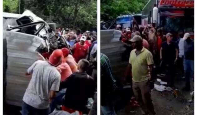 Accidente de bus con hinchas del Junior