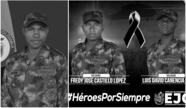 Antonio Beltrán, Fredy José Castillo López y Luis David Canencia, soldados asesinados en Arauca