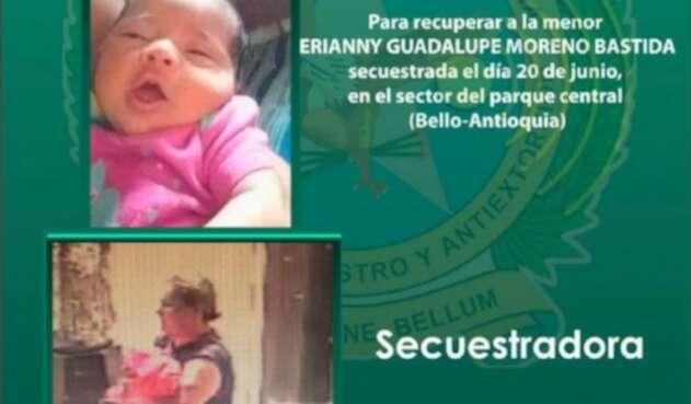 Bebé raptada en Bello a pareja de venezolanos