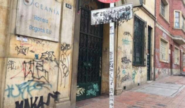 Fachadas vandalizadas en el Centro de Bogotá.