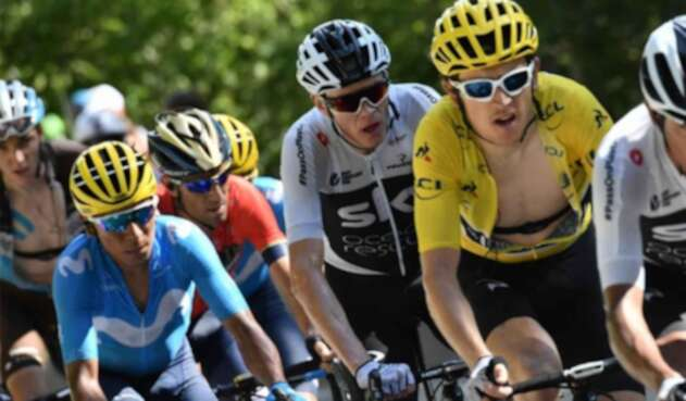 Nairo Quintana, Christopher Froome y Geraint Thomas.