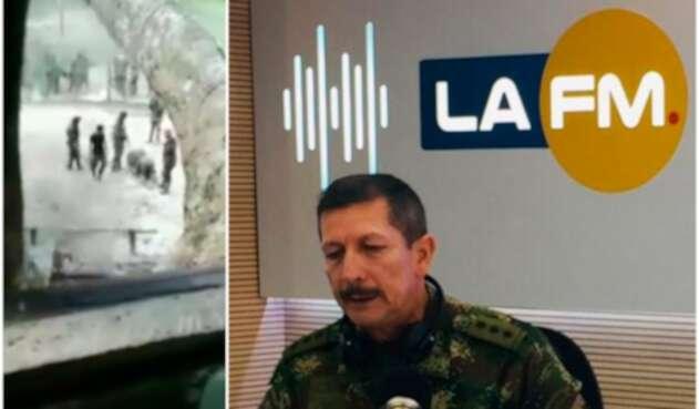 A la izquierda, las imágenes publicadas por el senador Gustavo Petro. A la derecha, el general Nicacio Martínez, comandante del Ejército, en la mesa de trabajo de LA FM