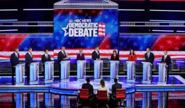 Precandidatos demócratas debatiendo en Miami (Estados Unidos)