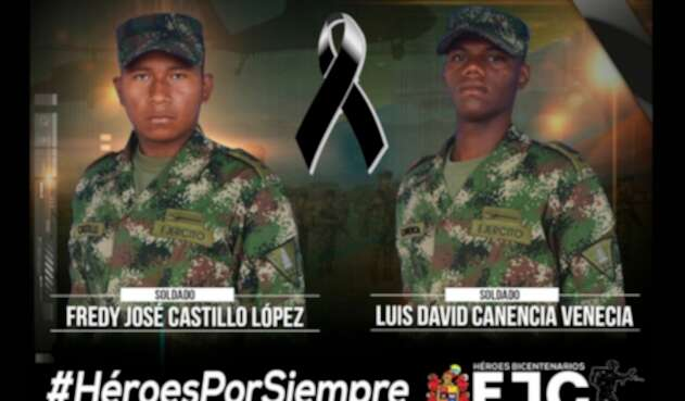 Fredy José Castillo López y Luis David Canencia, soldados asesinados en Arauca