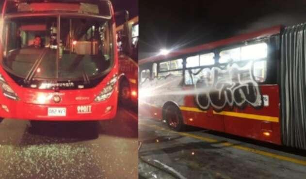 Buses de Transmilenio vandalizados