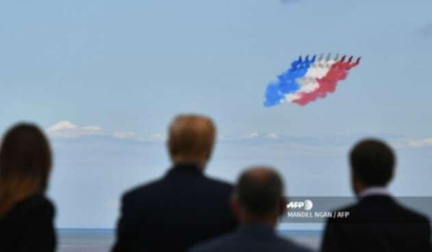 Donald Trump y Emmanuel Macron en homenaje al desembarco en Normandía