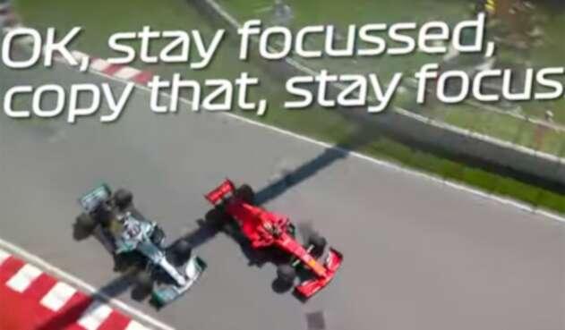 Vettel y Hamilton durante el incidente en el Gran Premio de Canadá