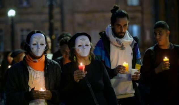 Protesta contra asesinatos de líderes sociales.