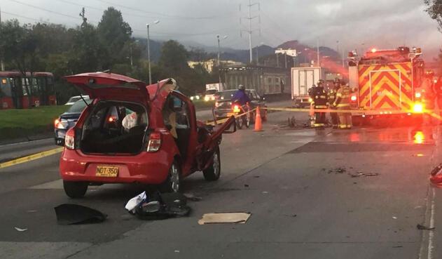 Accidente en la Autopista Norte con Calle 153