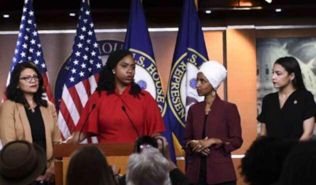 Las congresistas estadounidenses Alexandria Ocasio-Cortez, Ayanna Pressley, Ilhan Omar y Rashida Tlaib.