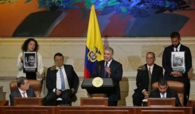 El presidente Iván Duque durante la instalación del legislativo, el 20 de julio de 2019.
