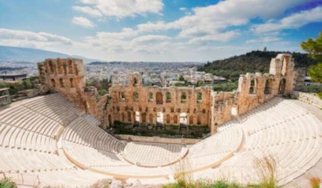 El Odeón de Herodes Ático, edificio para audiciones musicales erigido en el año 161, en Atenas (Grecia)