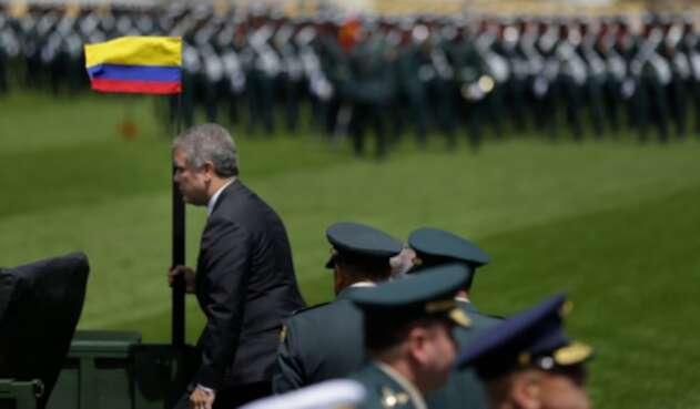 El presidente Iván Duque con la cúpula militar, el 17 de diciembre de 2018 en Bogotá