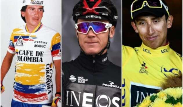 Lucho Herrera, Chris Froome y Egan Bernal, ciclistas