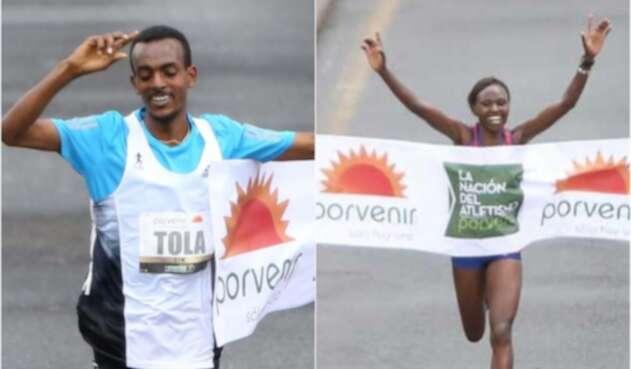 Tamirat Tola, rama masculina, y Ruth Chepngetich, femenina, ganadores de la Media Maratón de Bogotá