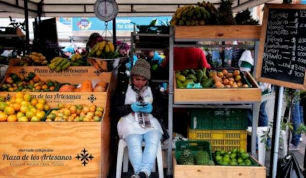 Foto de referencia del mercado campesino en Bogotá
