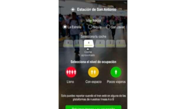 Imagen de la aplicación del Metro de Medellín